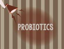 Знак текста показывая Probiotics Микроорганизм в реальном маштабе времени бактерий схематического фото хозяйничал в тело для свои иллюстрация вектора