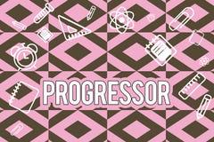 Знак текста показывая Progressor Схематическая персона фото которая делает прогресс или облегчает его в других мотивировка иллюстрация штока