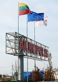 Знак торгового центра AKROPOLIS 12-ого апреля 2014, Вильнюс, Литва. Стоковые Фотографии RF