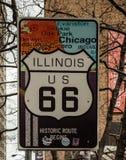 Знак трассы Иллинойса США 66 Стоковые Изображения