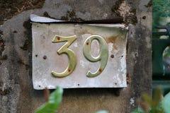 Знак тридцать девять металла на поляке стоковое фото