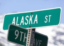 Знак улицы Аляски городка Skagway Стоковое фото RF
