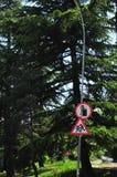 Знак улицы на бегстве, одно повернул противоестественно стоковые изображения rf