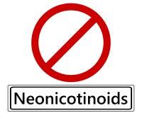 Знак уличного движения запрета для neonics Стоковая Фотография