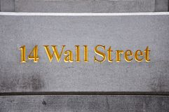 Знак Уолл-Стрит, Манхаттан, Нью-Йорк Стоковое Изображение RF