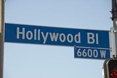 Знак улицы бульвара Голливуда ЛА стоковая фотография rf