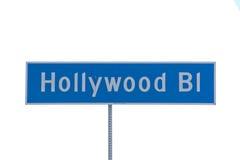 Знак улицы бульвара Голливуда ЛА стоковые фотографии rf