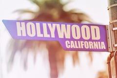 Знак улицы Голливуда Калифорнии Стоковая Фотография RF