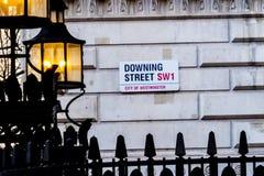 Знак улицы Даунинг-стрит, Лондон Стоковая Фотография RF