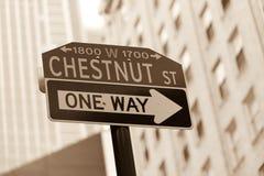 Знак улицы каштана Стоковые Фотографии RF