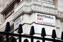 Знак улицы для Уайтхолла, SW1, Лондона Стоковое Изображение RF