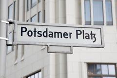 Знак улицы Potsdamer Platz, Берлин Стоковое Изображение