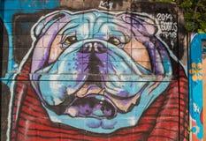 Знак уличного движения в майне Мельбурне Hosier Картины собаки на стене Стоковая Фотография