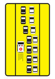 Знак уличного движения советует автомобилям для того чтобы дать левый путь к машине скорой помощи Стоковая Фотография RF