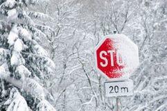 Знак уличного движения стопа Snowy Стоковая Фотография
