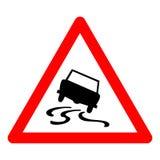 Знак уличного движения треугольника вектора для скользкой дороги Стоковое Фото