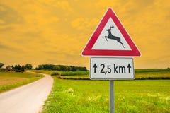 Знак уличного движения для оленей в природе Стоковые Фото