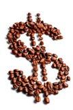 знак формы доллара кофе фасолей Стоковые Изображения RF