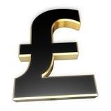 знак фунта черного золота Стоковое Изображение