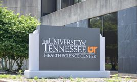 Знак центра науки здоровья UT, Мемфис, TN стоковое изображение