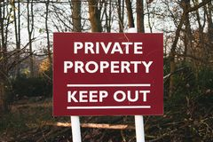 Знак частной собственности, держит вне знак стоковые изображения rf