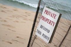 знак частной собственности пляжа Стоковая Фотография RF