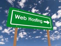 Знак шоссе к веб - хостингу стоковая фотография rf