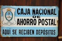 Знак эмали самого южного почтового отделения мира в Ushuaia ареальных стоковые изображения rf