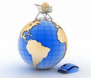 Знак электронной коммерции в вагонетке на глобусе и гибриде мыши и портмона компьютера Стоковая Фотография