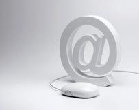 Знак электронной почты @ и мышь компьютера Стоковая Фотография RF