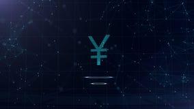 знак японских иен 3d Фон виртуального пространства космоса голубой с доступами в интернет Валюта евро на виртуальный накалять 2 иллюстрация штока