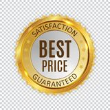 Знак ярлыка самого лучшего цены золотой сияющий также вектор иллюстрации притяжки corel Стоковые Изображения