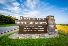 Знак для больших лугов, вдоль привода горизонта, в Shenandoah Nationa Стоковые Фотографии RF