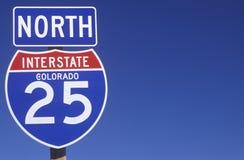 Знак для 25 северного в Колорадо Стоковые Изображения RF