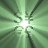 знак дег зеленого света пирофакела валюты Стоковые Фотографии RF