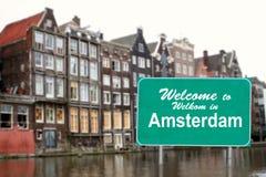 знак amsterdam намочить гостеприимсво Стоковые Изображения RF