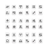 знак astrological иконы установленный Стоковые Изображения