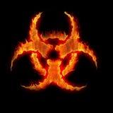 знак biohazard горящий Стоковая Фотография