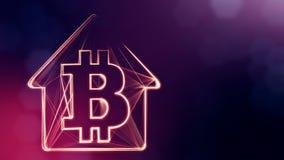 Знак bitcoin логотипа внутри эмблемы дома Финансовая предпосылка сделанная частиц зарева как vitrtual hologram иллюстрация штока
