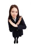 Знак cancel молодого азиатского студента shwoing стоковые фотографии rf