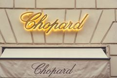 Знак Chopard для магазина стоковое изображение