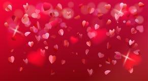 Знак confetti лепестков розы сердец дня валентинок романский Стоковая Фотография RF