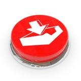 знак download кнопки красный круглый стоковое фото
