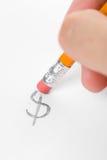 знак erase доллара стоковая фотография
