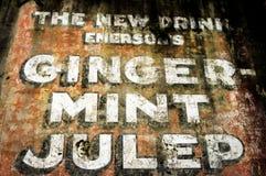 Знак Julep Имбир-мяты на стене в Новом Орлеане Стоковые Фотографии RF