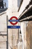 знак london подземный Стоковые Изображения