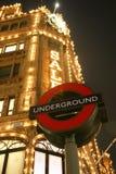 знак london harrods подземный Стоковое Изображение RF