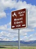Знак Mount Elbert, Колорадо Стоковое фото RF