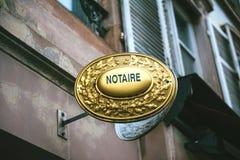 Знак Notaire стоковая фотография rf
