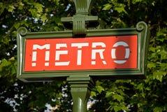 знак paris метро входа Стоковое Изображение RF